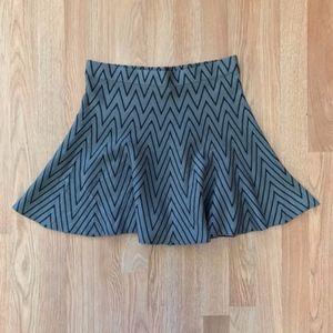 Candie's Gray & Black Print Knit Skater Skirt